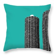 Chicago Skyline Marina Towers - Teal Throw Pillow by DB Artist