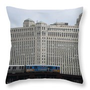 Chicago Merchandise Mart And Cta El Train Throw Pillow