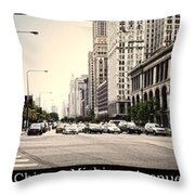 Chicago Michigan Ave Field Museum Art Institute Triptych 3 Panel Throw Pillow