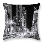 Chicago Michigan Avenue Light Streak Black And White Throw Pillow