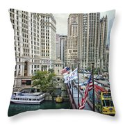 Chicago Michigan Avenue V Hdr Textured Throw Pillow