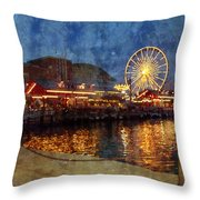 Chicago Navy Pier At Night Throw Pillow
