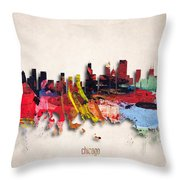 Chicago Painted City Skyline Throw Pillow