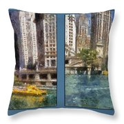 Chicago River 2 Panel Throw Pillow