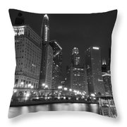 Chicago River At Night Black And White Throw Pillow