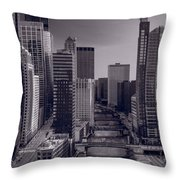 Chicago River Bridges South Bw Throw Pillow
