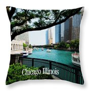 Chicago River Front Throw Pillow
