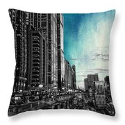 Chicago River Hdr Sc Textured Throw Pillow