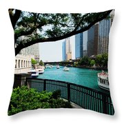 Chicago River Scene Throw Pillow