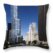 Chicago River Scenic Throw Pillow
