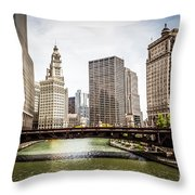 Chicago River Skyline At Wabash Avenue Bridge Throw Pillow by Paul Velgos