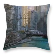 Chicago River Sunset Throw Pillow