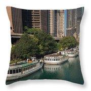 Chicago River Tour Boats Throw Pillow