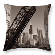 Chicago River Traffic Bw Throw Pillow