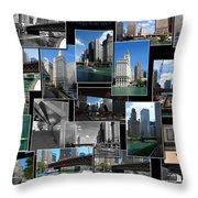 Chicago River Walk Collage Throw Pillow
