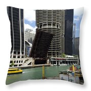 Chicago River Walk Construction Throw Pillow