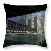 Chicago River Walk Going East 02 Throw Pillow