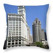 Chicago River Walk Wrigley And Tribune Throw Pillow