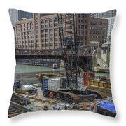 Chicago- Riverwalk Construction Throw Pillow