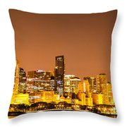 Chicago Skyine At Night Panoramic Photo Throw Pillow