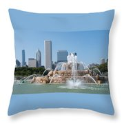 Chicago Skyline And Fountain Throw Pillow