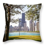 Chicago Skyline And Hancock Building Through Trees Throw Pillow