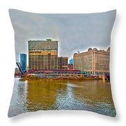 Chicago Skyline And Streets Throw Pillow