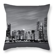 Chicago Skyline At Night Black And White Panoramic Throw Pillow by Adam Romanowicz