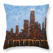 Chicago Skyline At Night From North Avenue Pier Throw Pillow