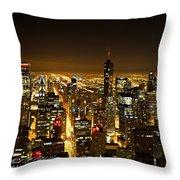 Chicago Skyline At Night I Throw Pillow