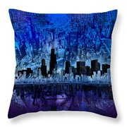 Chicago Skyline Blue Version Throw Pillow