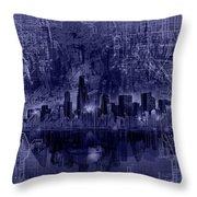 Chicago Skyline Blueprint Throw Pillow