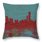 Chicago Skyline Brick Wall Mural  Throw Pillow