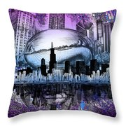 Chicago Skyline Drawing Collage 2 Throw Pillow