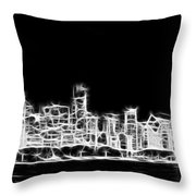 Chicago Skyline Fractal Black And White Throw Pillow by Adam Romanowicz