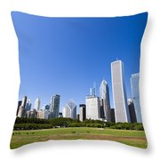 Chicago Skyline From Grant Park Throw Pillow