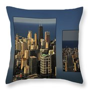 Chicago Skyline From Willis Tower Throw Pillow by Christine Till