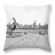 Chicago Skyline Hard Ink Throw Pillow