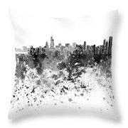 Chicago Skyline In Black Watercolor On White Background Throw Pillow