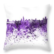 Chicago Skyline In Purple Watercolor On White Background Throw Pillow