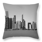 Chicago Skyline In Shades Of Grey Throw Pillow