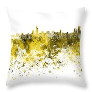 Chicago Skyline In Yellow Watercolor On White Background Throw Pillow