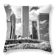 Chicago Skyline Lurie Garden Black And White Picture Throw Pillow