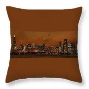 Chicago Skyline Panorama At Dusk Throw Pillow