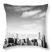 Chicago Skyline Panoramic Black And White Picture Throw Pillow