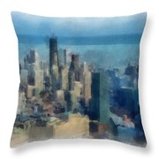 Chicago Skyline Photo Art 06 Throw Pillow