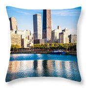 Chicago Skyline Picture With Hancock Building Throw Pillow