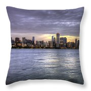 Chicago Skyline Sunset Throw Pillow