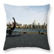 Chicago Skyline Water Color1 Throw Pillow