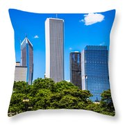 Chicago Skyline With Grant Park Trees Throw Pillow